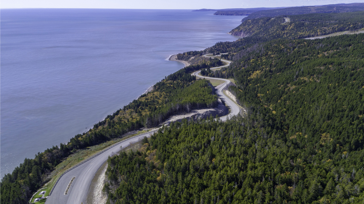 Aerial view of the Fundy Trail.
