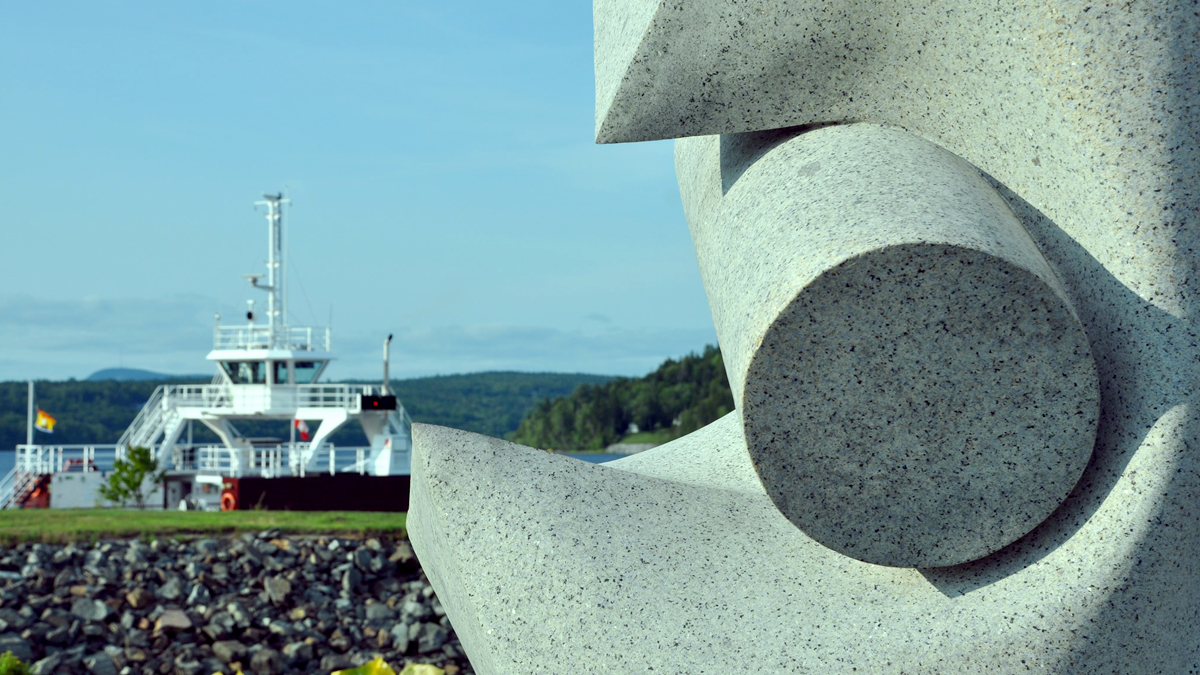 Sculpture by the Grand Bay-Westfield ferry.